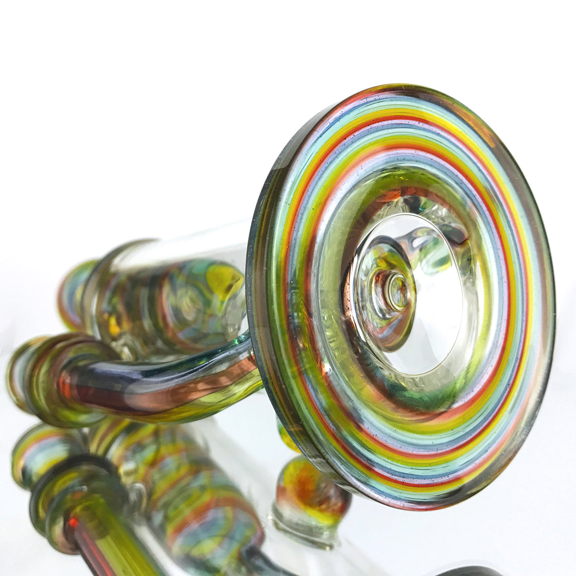 Fully-Worked Internal Klein Recycler - Transparent Rainbow - 14mm Female