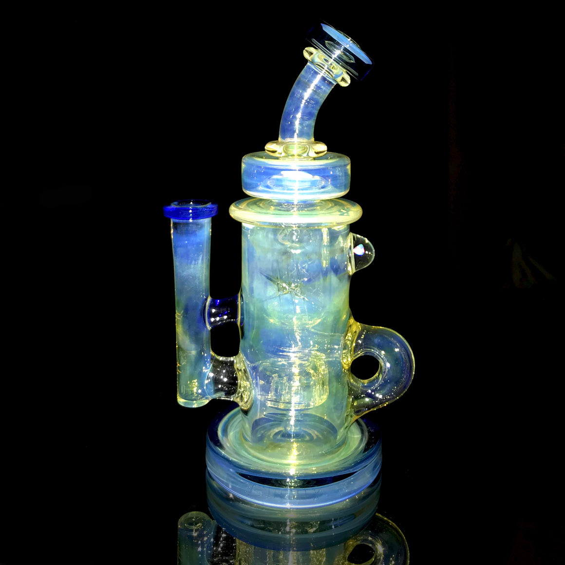 Fumed & Carved Klein Recycler - Heavy Blue Dream - 14mm Female