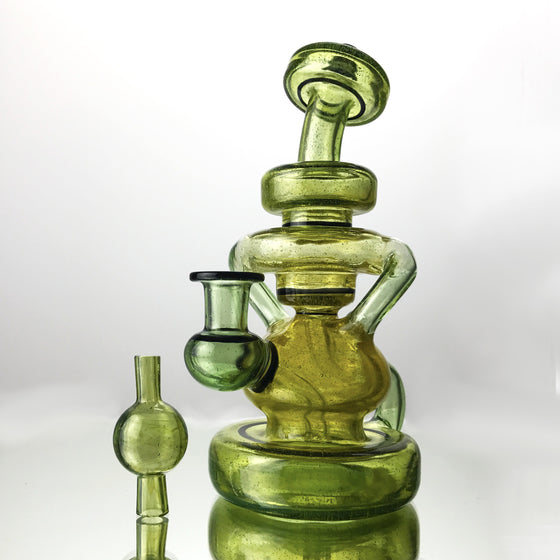 UV Double Uptake Klein Recycler - Green/Yellow Fade - 10mm Female
