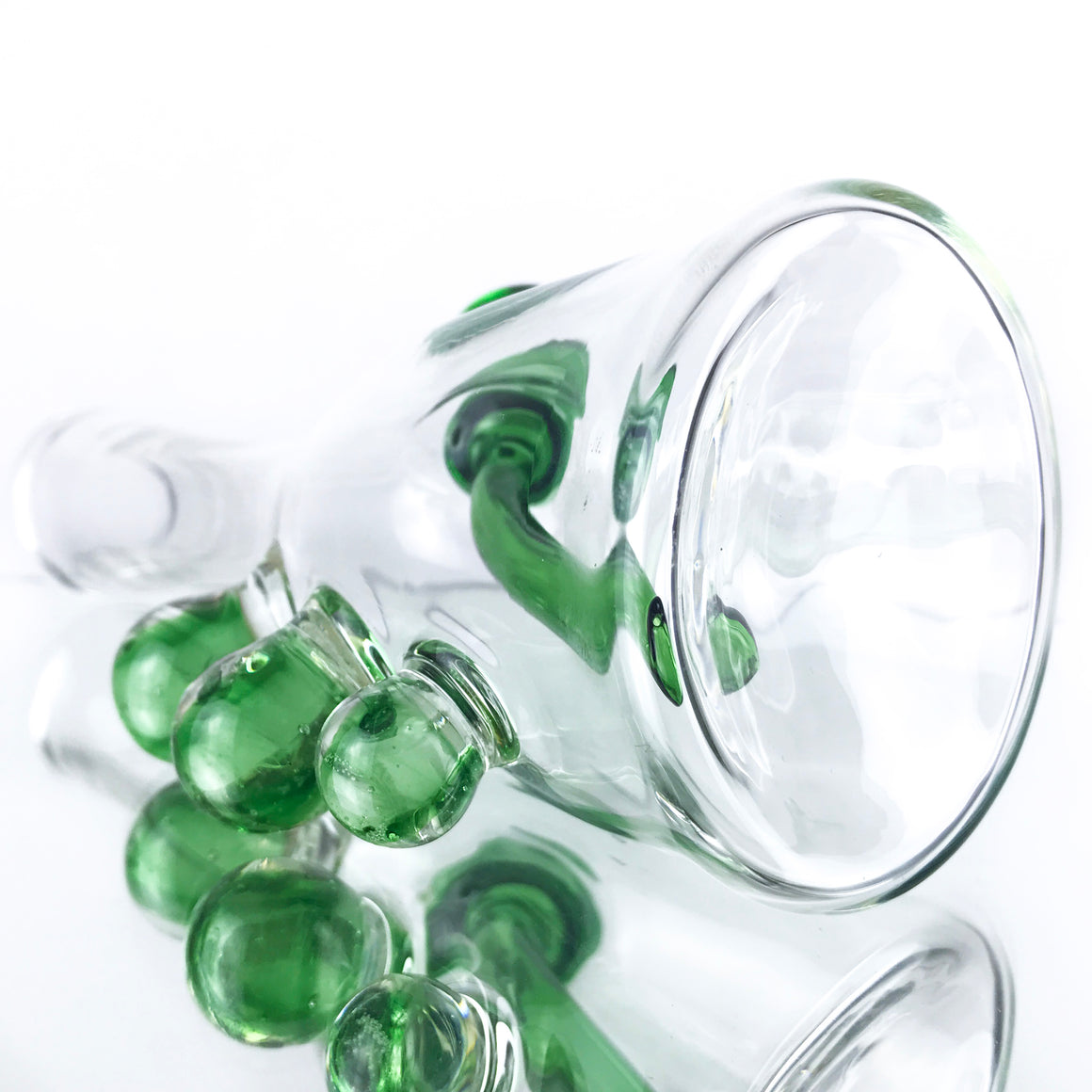 Clear Bottle Rig - Green - 14mm Female