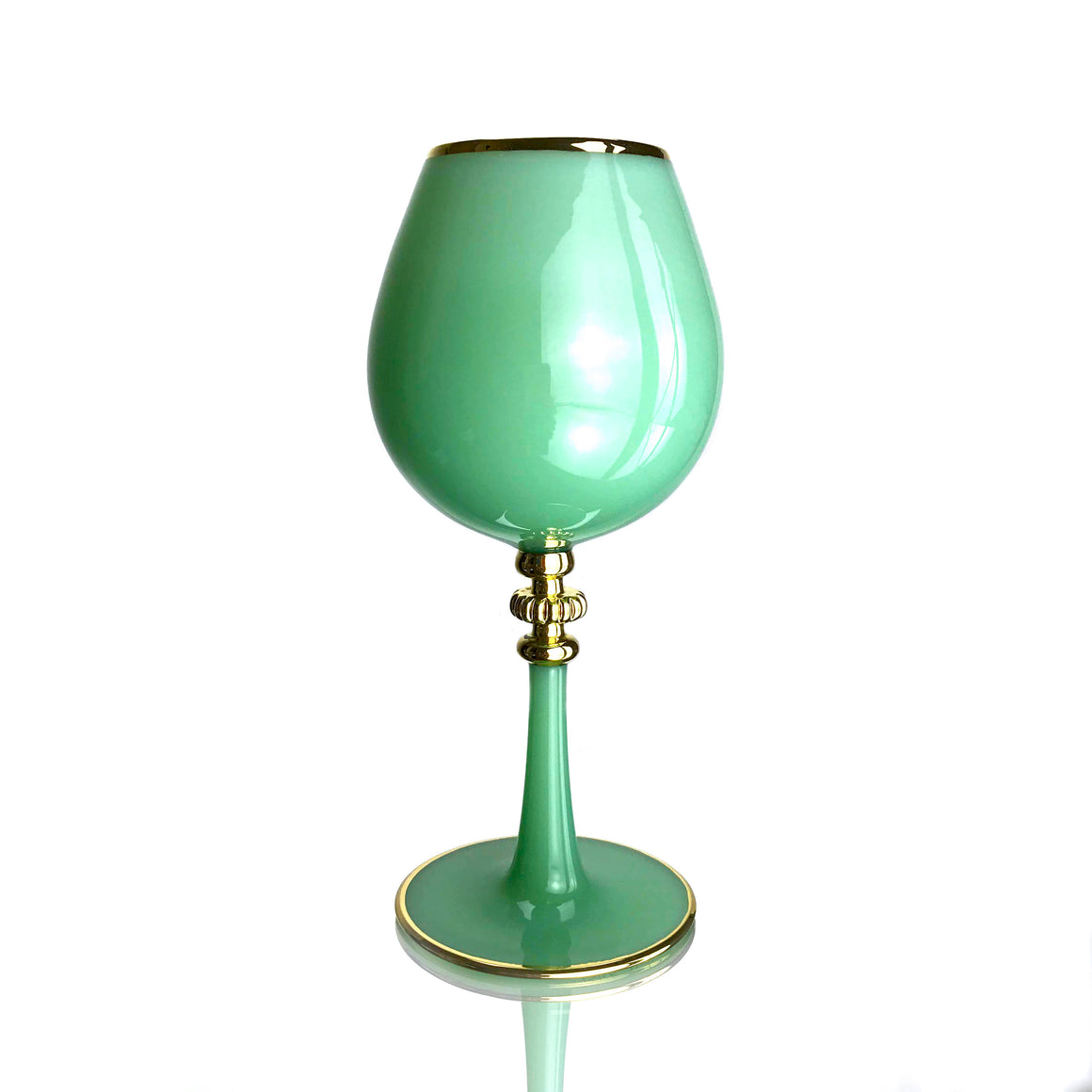 Jade Port Wine Glass with 21K Gold-plated Accents