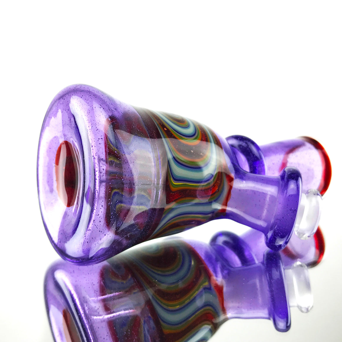 Fully-worked Mini Tube - Purple Lollipop/Red Blizzard Linework- 10mm Female