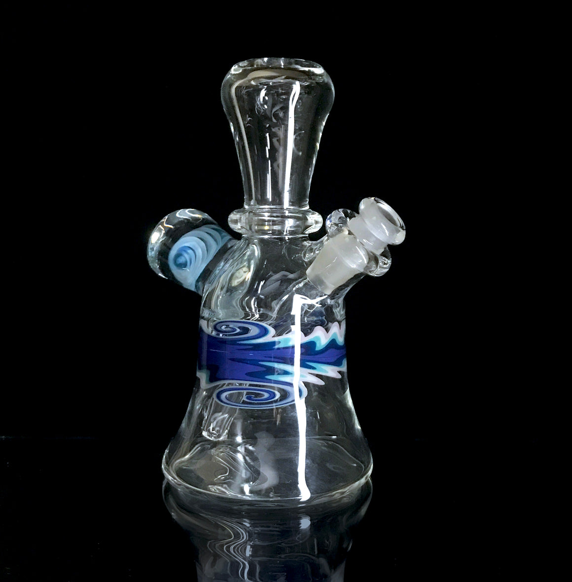 Fully-worked Mini Tube - Clear/Blue Linework - 10mm Female