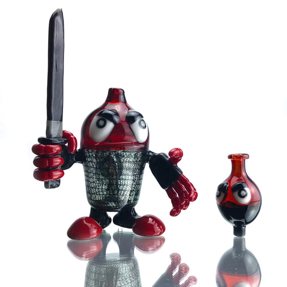 Red/UV Reactive Coil Robo-kun w/ removable Katana Dabber & Matching Cap - 10mm Female