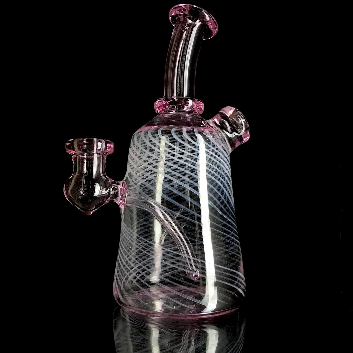 Fully-worked Rig - Transparent Pink/White Retti - 14mm Female