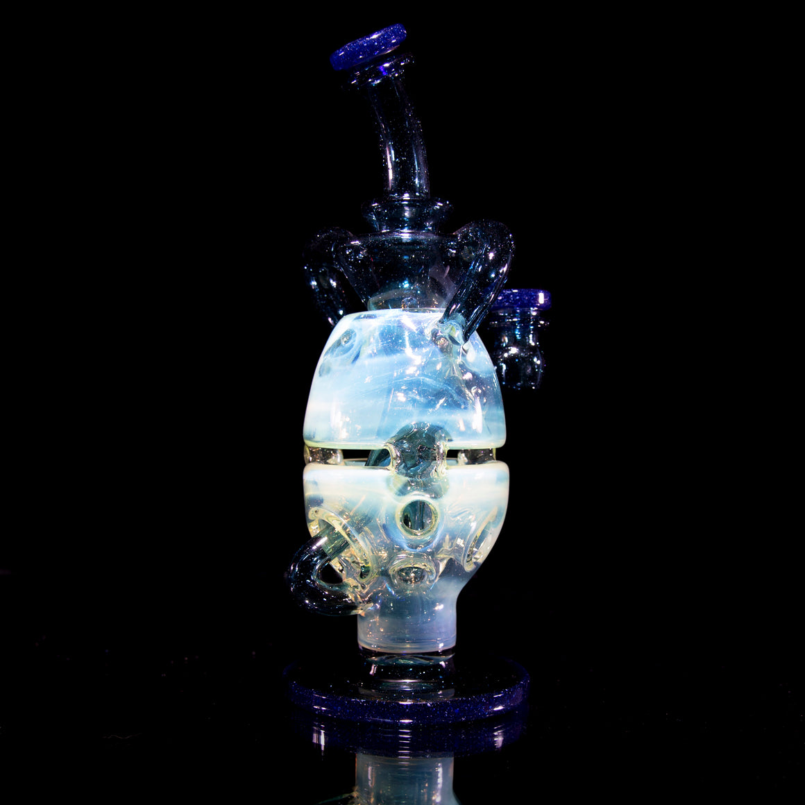 Double-Uptake Faberge Egg Klein Recycler  - Blue Blizzard/Blue Stardust/Slyme - 14mm Female
