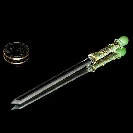 Fully-beveled Katana Dabber w/ Hand-wrapped Handle - Gold/Green