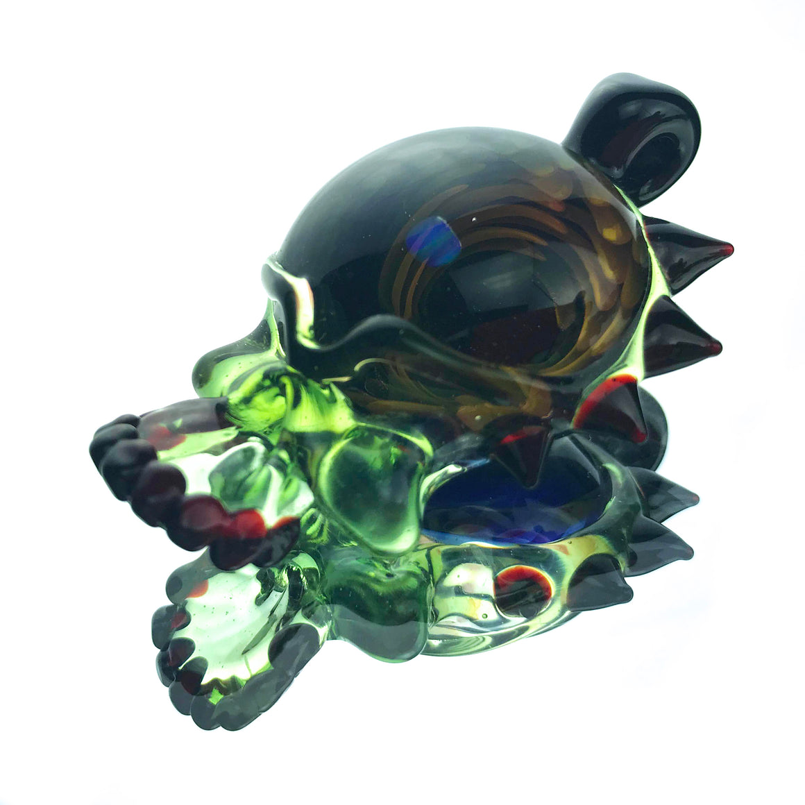 Spiky Opal Fume Implosion Skull Pendant - Tropical Green