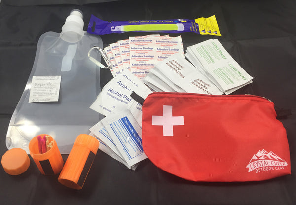 Water Purifying Kit and Mini First Aid Kit with Collapsible Water Bottle and Ultra-light Bag