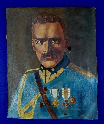 1936 Polish Poland WW1 Marshal Jozef Pilsudski Signed Oil Painting Art Portrait