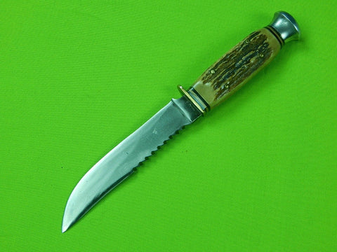 1940 GERMAN SOLINGEN ANTON WINGEN OTHELLO STAG HUNTING SAWBACK SKINNER KNIFE