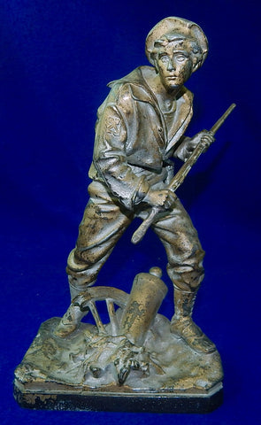 Antique Late 19c Bradley Hubbard American Navy Figure Metal Man Marine Figurine