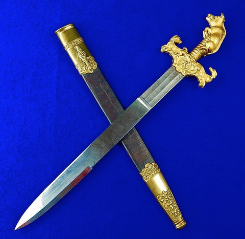 Antique French France 19 Century Hunting Dagger Knife Short Sword w/ Scabbard