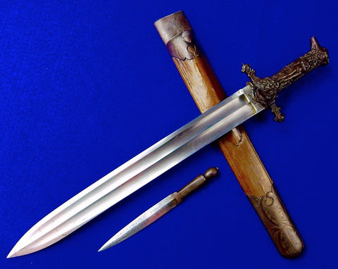 Antique 19 C French France Hunting Dagger German Blade Knife Figural Handle