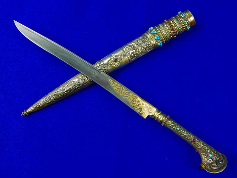 Antique 19 Century Middle East Turkish Silver Yatagan Dagger Knife w/ Scabbard