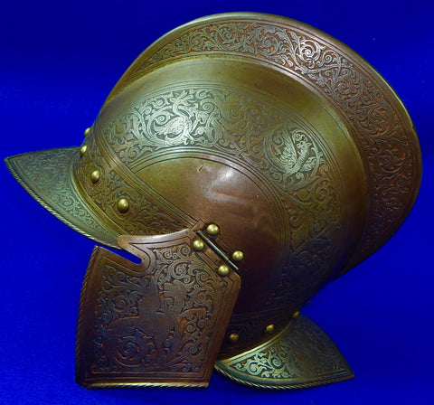 Antique 19 Cent Spanish Spain Italy Italian Engraved Victorian Medieval Helmet