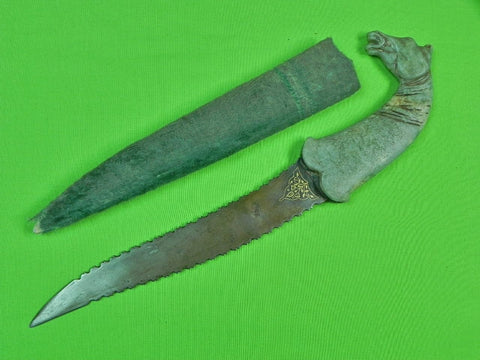 Antique 19 Century Middle East Indo Persian Jade Stone Horse Head Fighting Knife