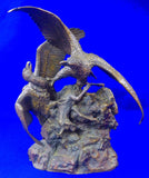 Antique 19 Century 14 Eagles & Prey Bronze Sculpture Statue by Christophe Fratin