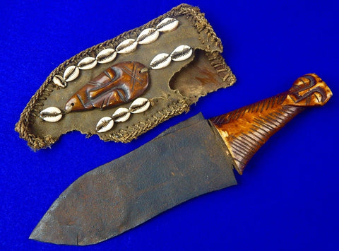 Antique Old Africa African 19 Century Carved Handle Fighting Knife Dagger with Sheath