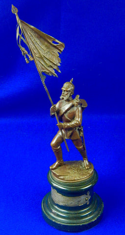 Antique Bronze German WW1 Soldier Presentation Figurine Statue Sculpture