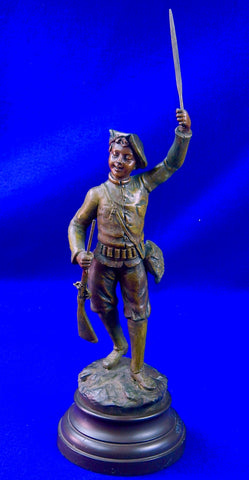Antique 19 Century French France Signed Scorges Omer Soldier Figurine Statue Scu