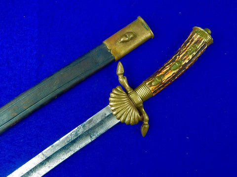 Antique German Germany WW1 Engraved Stag Hunting Dagger Sword w/ Scabbard