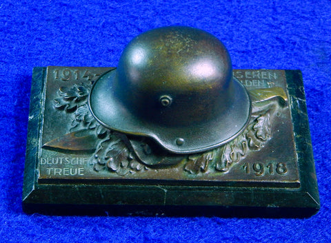 Antique German Germany WW1 Helmet Bayonet Bronze Paperweight Military Decor