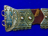 Antique Imperial Russian Russia 1895 Silver Niello Caucasian Kindjal Belt Buckle