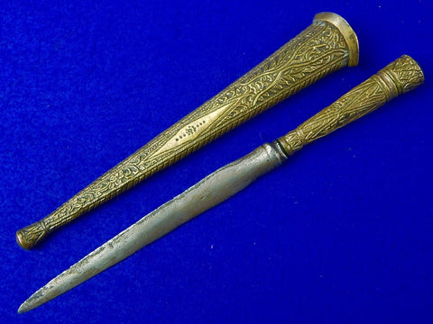 Antique Old Indonesian Damascus Blade Fighting Knife Spear Point Dagger with Scabbard