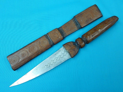 Antique Old Africa African Fighting Knife Dagger w/ Scabbard