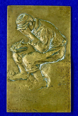 Antique Old French France WWI WW1 1914 Max Blondat Bronze Plaque Art Military Decor
