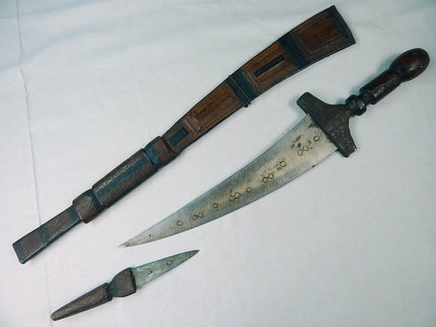 Antique Old North African Africa Unusual Sword Fighting Knife w/  Oversized Scabbard