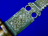 Antique Spanish Spain Toledo 19 Century Left Hand Dagger Knife with Scabbard