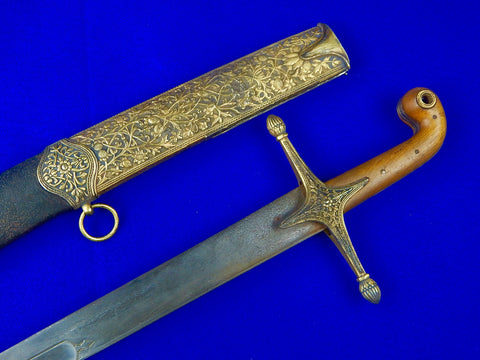 Antique Turkish Persian Ottoman Fancy Wootz Damascus Shamshir Sword w/ Scabbard