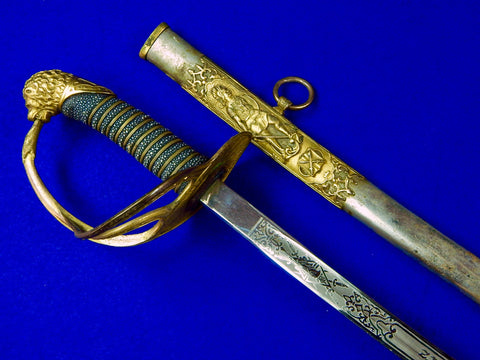 Antique US Late 19 Century Knights of Pythias Masonic Fraternal Sword w Scabbard