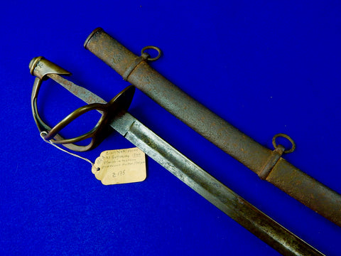 Antique US Civil War Model 1860 Cavalry Sword w/ Scabbard & Tag