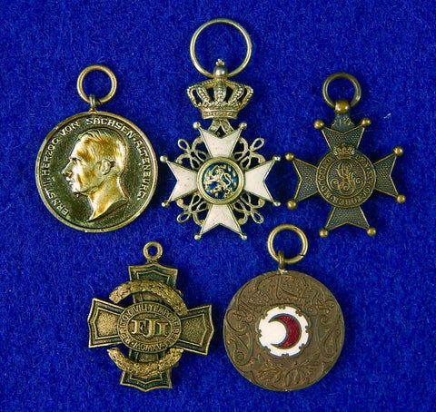 Antique Old Austrian Austria WW1 Set 5 Miniature Mini Medal Order Badge Pin