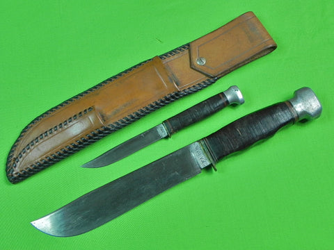RARE Vintage US Set Huge Early KA-BAR Small L.L. BEAN Fighting Hunting Knife