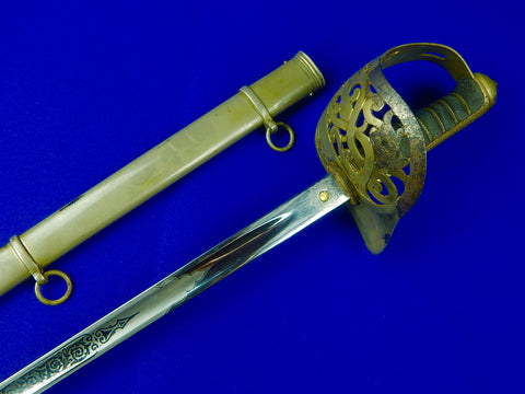 British English Antique 19 Century Officer's Sword with Scabbard