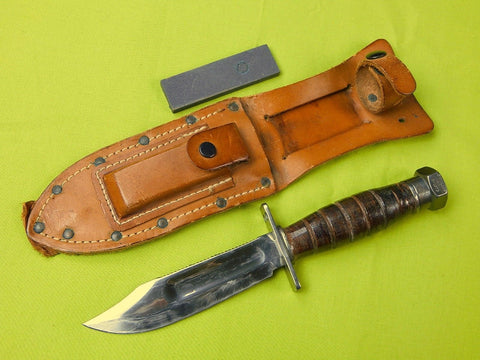 US Vietnam Era 1973 Camillus Jet Pilot Survival Fighting Knife w/ Sheath Stone
