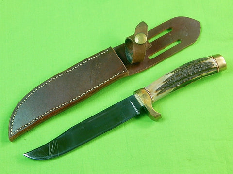 Custom Hand Made Stag Hunting Knife & Sheath