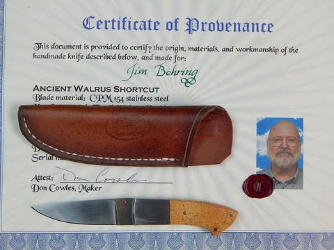 Custom Hand Made by DON COWLES Knife & Sheath Certificate