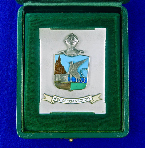 Vintage Italian Italy 1973 Silver Table Medal Plaque w/ Box