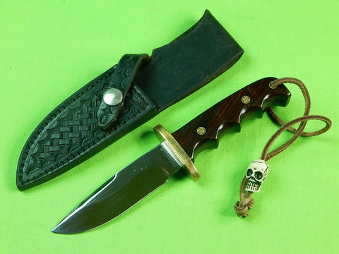Custom Hand Made Eberhardt Fighting Knife & Sheath Skull Bead