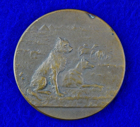Vintage Old French France Bronze Table Medal