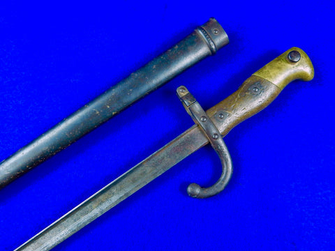 French France 19 Century Pre WW1 1876 Dated Bayonet Short Sword w/ Scabbard