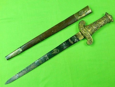 Antique 19 Century French France Italy Italian Engraved Dagger Knife w/ Scabbard