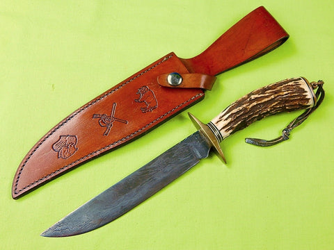 Custom Hand Made GAUDLE Clanton Alabama Damascus Stag Hunting Knife & Sheath