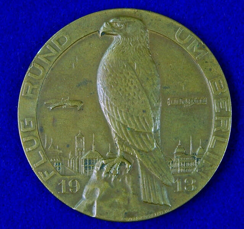 German Germany Antique 1913 Flight Around Berlin Aeronautical Table Medal