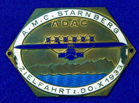 German Germany Vintage 1933 ADAC Auto Club DOX Plane Enameled Large Badge Plaque